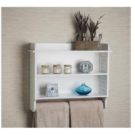 Bath Cabinet With Adjustable Shelf and Towel Bar - white