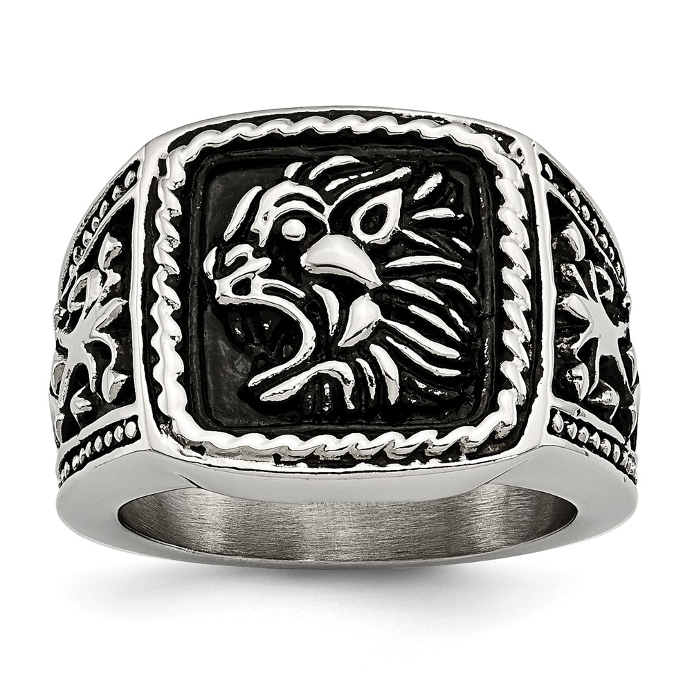 Stainless Steel Antiqued Lion Ring