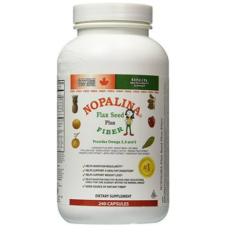 Nopalina Flax Seed & Fiber Plus Formula  - 240 Capsules Count - Weight & Dietary Supplement - Helps With