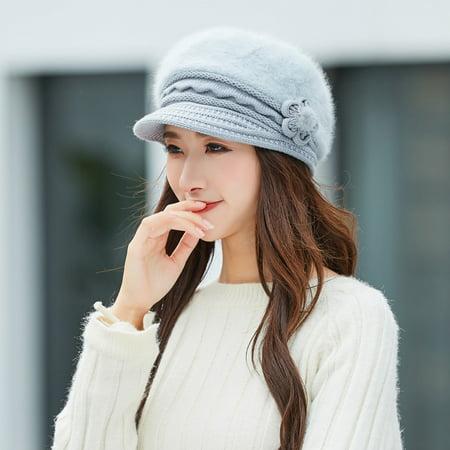 Women Winter Warm Floral Cap Beret Braided Baggy Knit Crochet Beanie Hat  Ski Cap - Walmart.com dff9cbcf473c