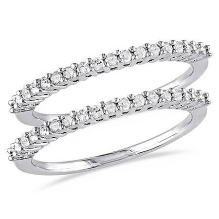 1/3 Carat T.W. Diamond Sterling Silver 2-piece Wedding Band Set Diamond Silver Bezel Bands