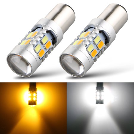 TSV 20-SMD Car Turn Signal Light Bulb, 1157 5730 1142 7528 Tail Brake Light, Dual Color Switchback White Amber, 1-Pair Amber Tail Light Cap