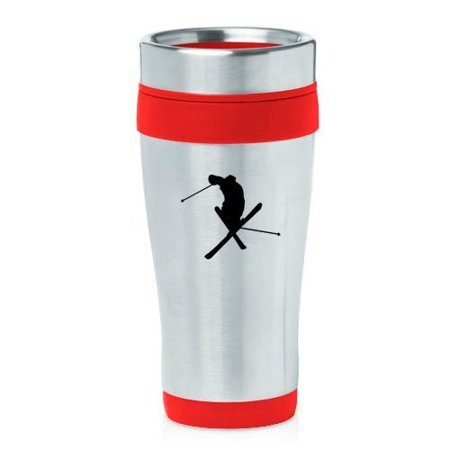 16oz Insulated Stainless Steel Travel Mug Ski Skier Extreme Sports Trick (Red),MIP ()