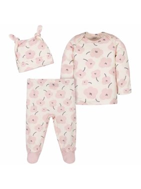 Gerber Baby Girl Take Me Home Shirt, Footed Pants & Cap, 3pc Outfit Set