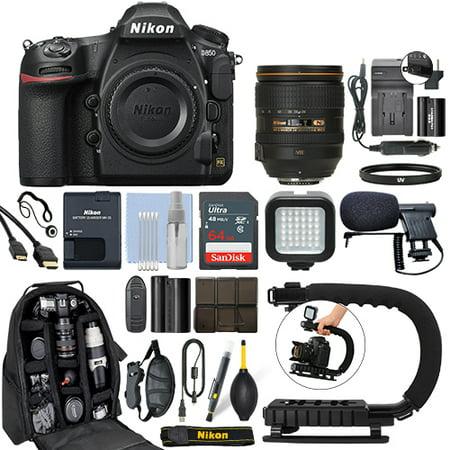 Nikon D850 FX DSLR Camera with 24-120mm f/4G AF-S ED VR Lens+ 64GB Pro Video Kit