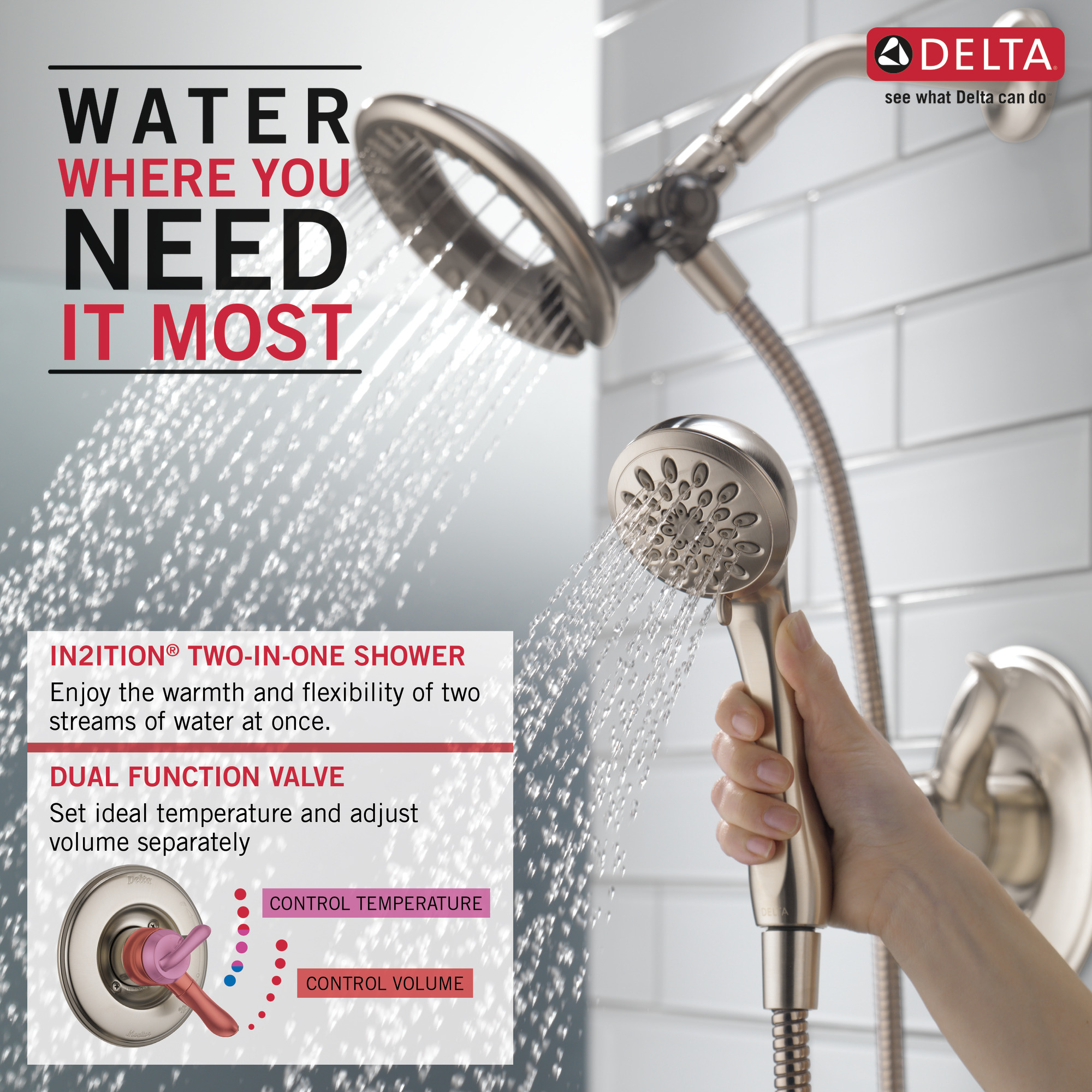 Delta Faucet T17493-SS-I Linden Monitor 17 Series Tub Trim with In2ition Two-in-One Shower Stainless