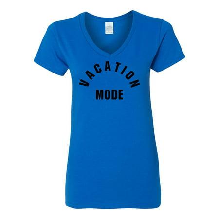72900553968 Custom Apparel R Us - Vacation Mode Summer Party Womens V Neck T-Shirt Top  - Walmart.com