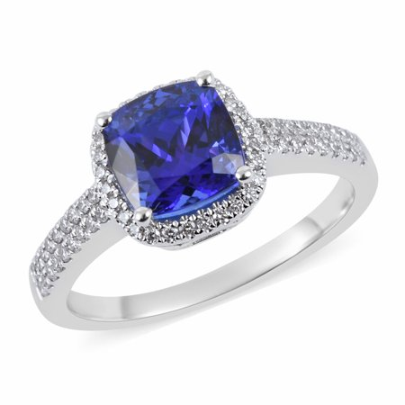 ILIANA AAA Premium Tanzanite 18K White Gold Diamond Bridal Wedding Engagement Halo Ring Jewelry for Women Anniversary Gifts for Her Ct 2.3 G-H Color SI1