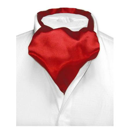 Ascot Tie - Biagio ASCOT Solid DARK RED Color Cravat Men's Neck Tie