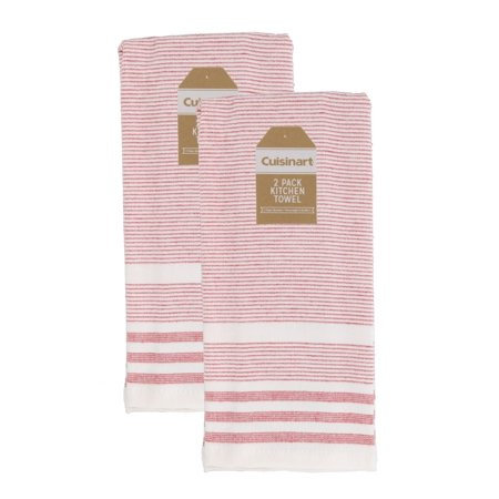 Cuisinart 100% Cotton Hand and Dish Kitchen Towels - Absorbent, Lightweight, Soft & Machine Washable- Dry Hands and Dishes - Set of 2, 16 x 28 Towels, Casual Stripe- Red