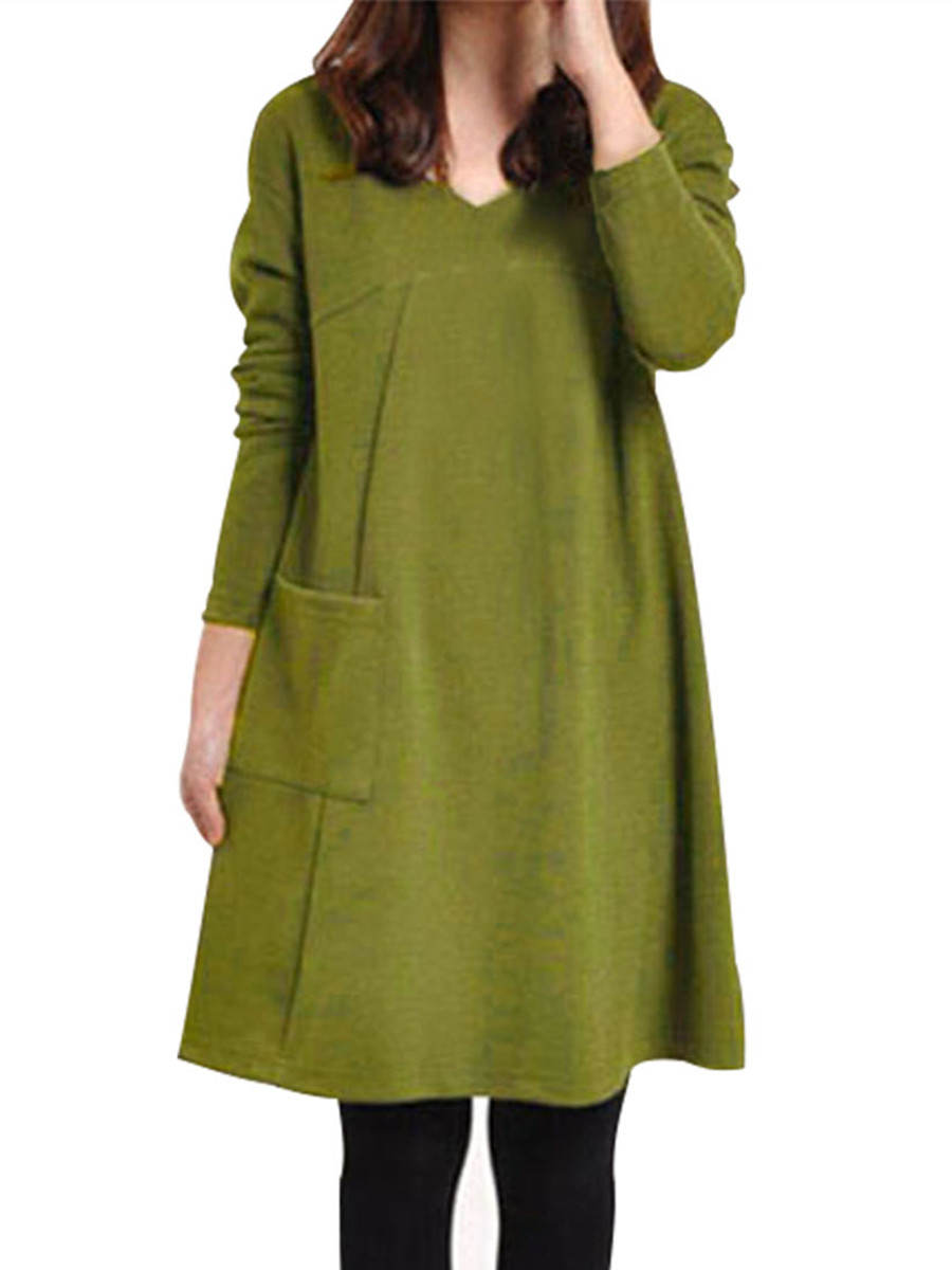 Womens Pocket Tunic Loose Long Sleeve Dresses