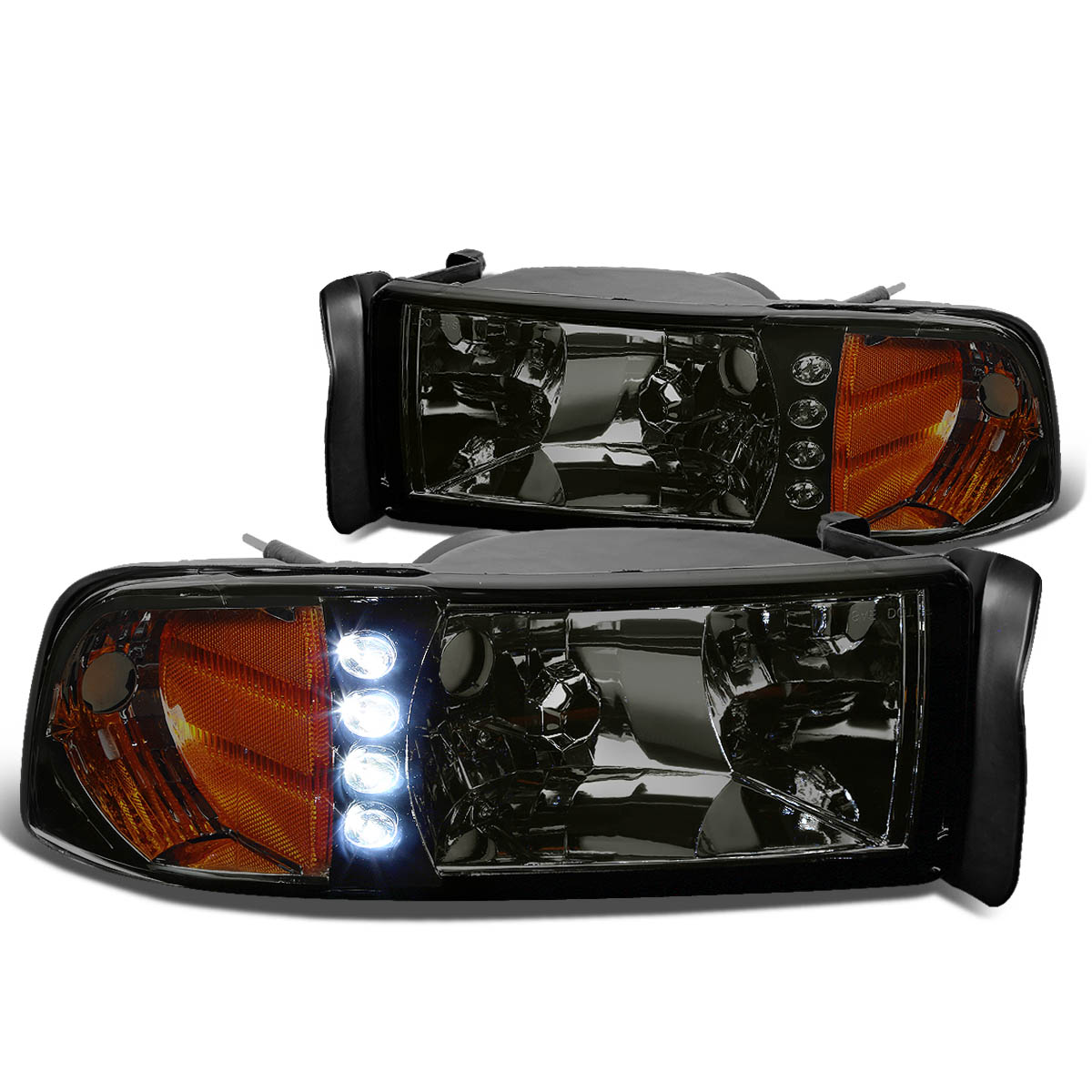 For 94-01 Dodge Ram BR/BE 1pc LED Headlight Assembly Kit (Smoke Lens Amber Reflector) 95 96 97 98 99 00
