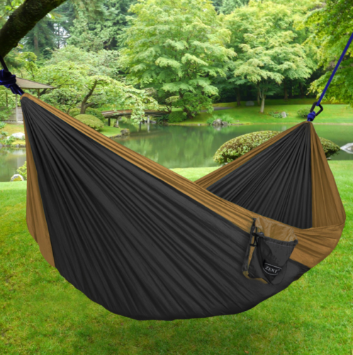 ZENY Portable Lightweight Double Nylon Parachute Camping Hanging Hammock Gear For The Outdoors Backpacking Survival Travel (Khaki/Grey)