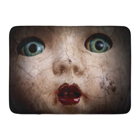 KDAGR Horror Scary Cracked Old Doll Face Shallow Focus Antique Halloween Abuse Doormat Floor Rug Bath Mat 23.6x15.7 inch