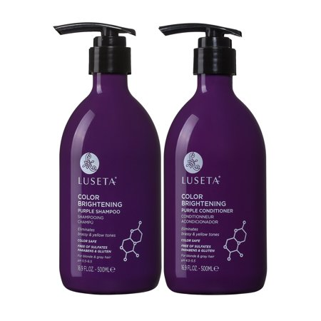 Luseta Color Brightening Purple Shampoo and Conditioner Set 2 x 16.9oz for Blonde and Gray Hair (Purple Shampoo And Conditioner)