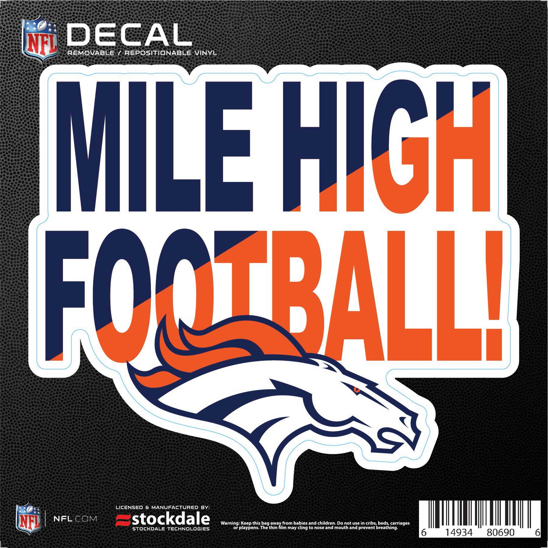 """Denver Broncos 6"""" x 6"""" Xpression Full Color Repositionable Decal - No Size"""