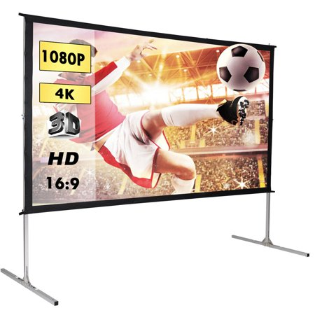 Gymax 120'' 16:9 Portable Foldaway Projector Screen Front Projection Home Theater Movie (120 Inch 5 4 Projector Screen)