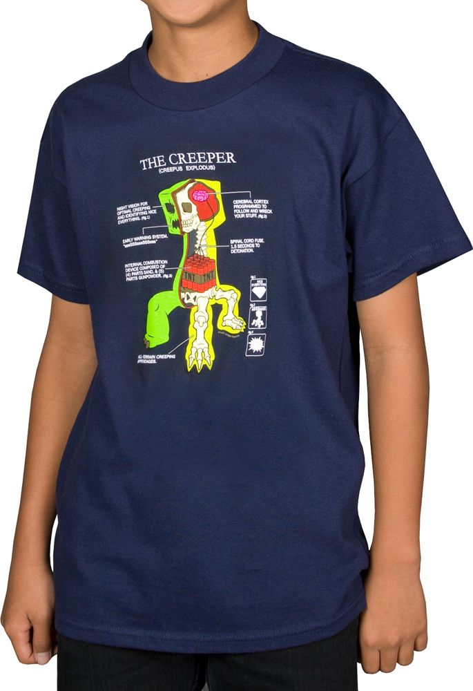Minecraft Creeper Anatomy Youth/'s Dark Blue Color Official Licensed T-Shirt