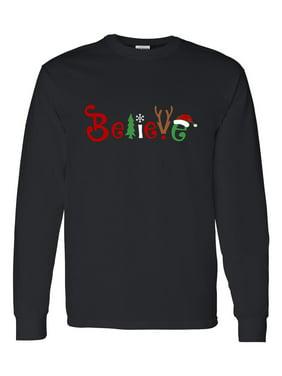 e130b128 Product Image Christmas Shirt Believe Santa Claus Reindeer Mens Long Sleeve  T-Shirt Top