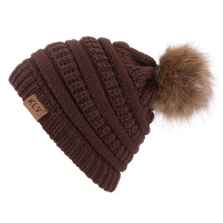 HURRISE  6 Colors Fashionable Knitted Cap Faux Raccoon Fur Pompom Winter Hat For Keeping Warm](Raccoon Hat)