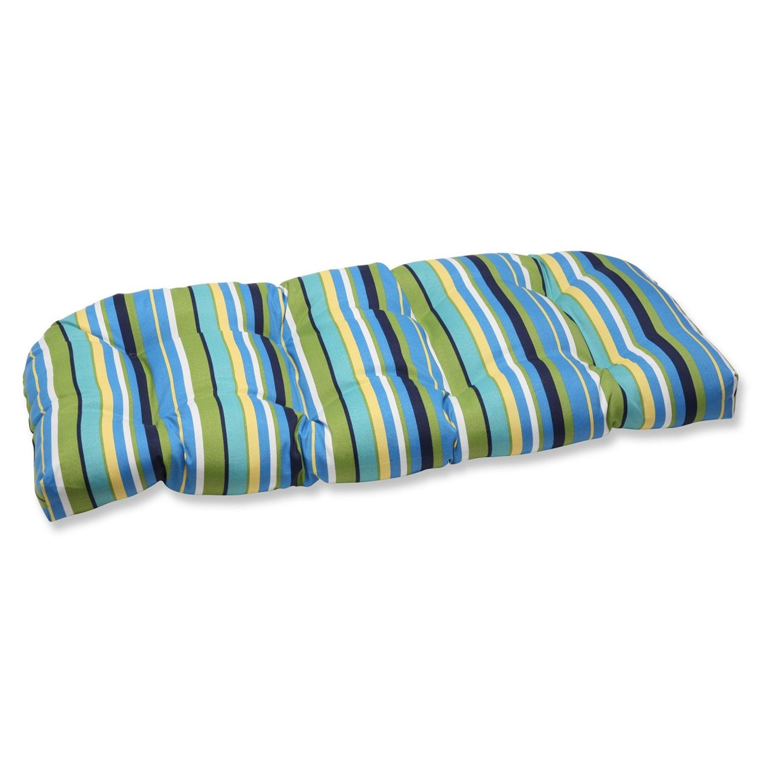 """44"""" Strisce Luminose Blue, Green & Yellow Striped Outdoor Patio Tufted Wicker Loveseat Cushion"""