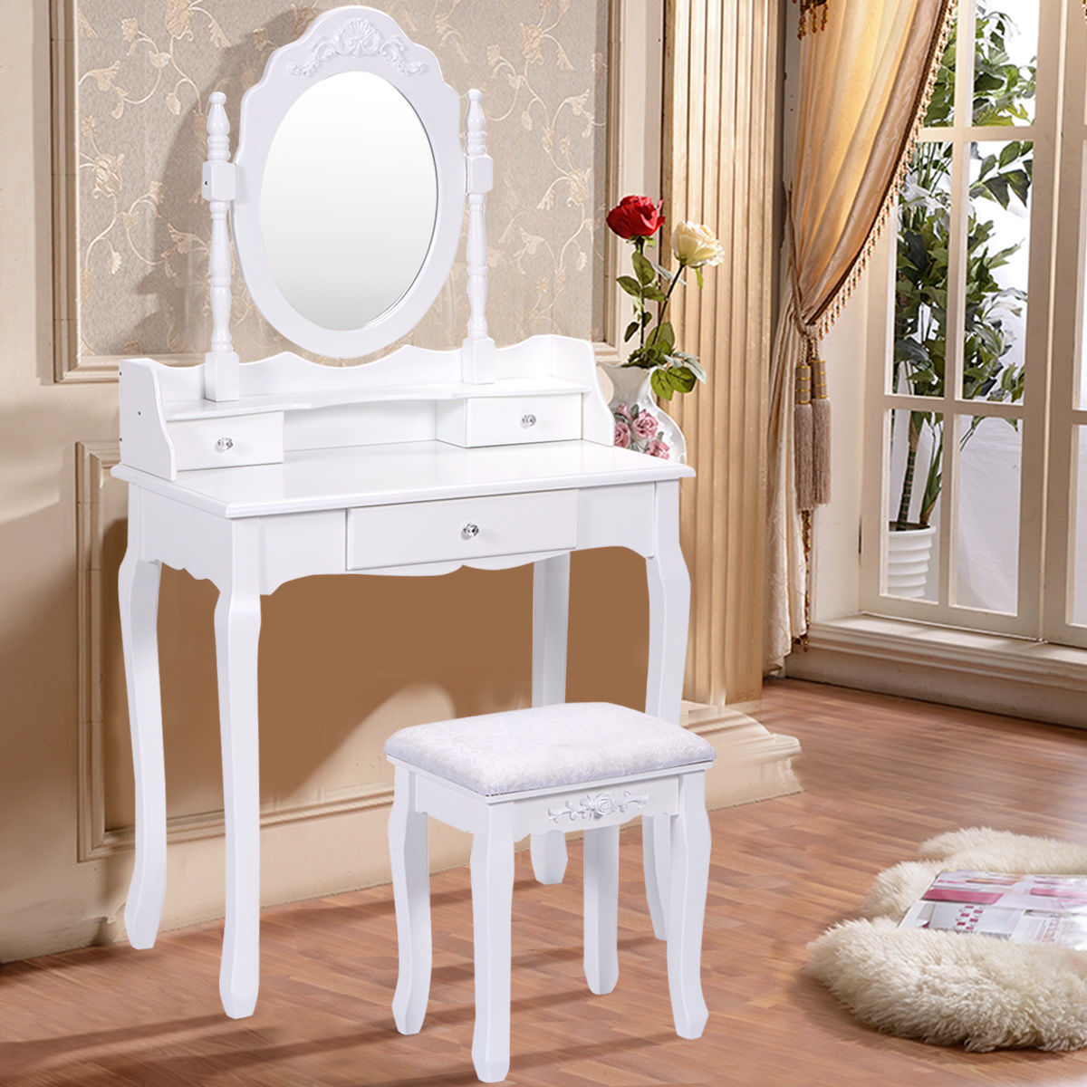 Costway White Vanity Wood Makeup Dressing Table Stool Set Bedroom With  Mirror + 3 Drawer - Walmart