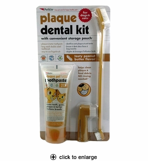 Petkin Plaque Dental Kit for Dogs & Cats Peanut Butter