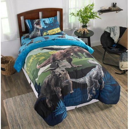 Jurassic World Blue Dinosaur Boys Twin Comforter & Sheet Set (4 Piece Bed  Set)