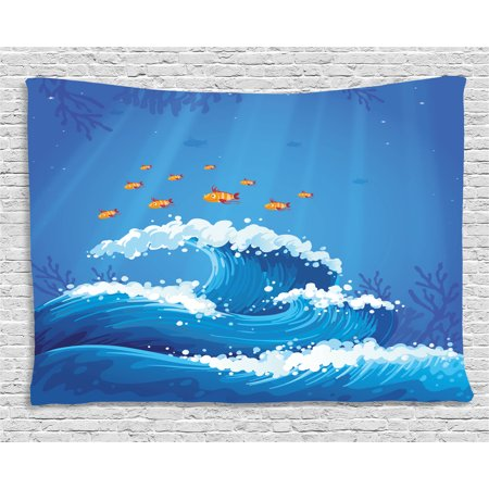 Marine Tapestry  Underwater With Group Of Fish And Wave In The Ocean Coral Reef Illustration  Wall Hanging For Bedroom Living Room Dorm Decor  80W X 60L Inches  Violet Blue Orange  By Ambesonne