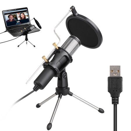 USB Podcast Condenser Microphone 100Hz to 16000Hz, Professional PC Streaming Microphone Kit with Anti-Spray Cover, Shock Mount, for Broadcasting, Recording, YouTube 001 Mic Kit