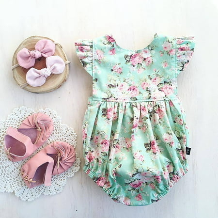 New One Piece Baby Girls Floral Romper Summer ruffled Jumpsuit Playsuit Infant 0-18M