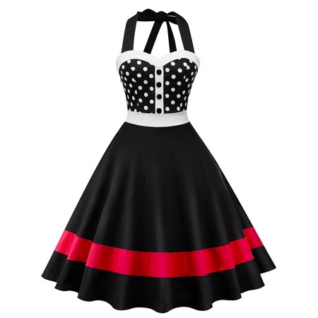 Dotted Halter Dress - Vintage Women 50s 60s Retro Halter Tunic Rockabilly Pinup Ploka Dot Housewife Party Swing Dress