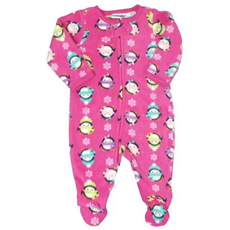 Babies R Us Baby Girl Pink Fleece Penguin Sleeper Holiday Christmas Pajamas](Halloween Babies R Us)