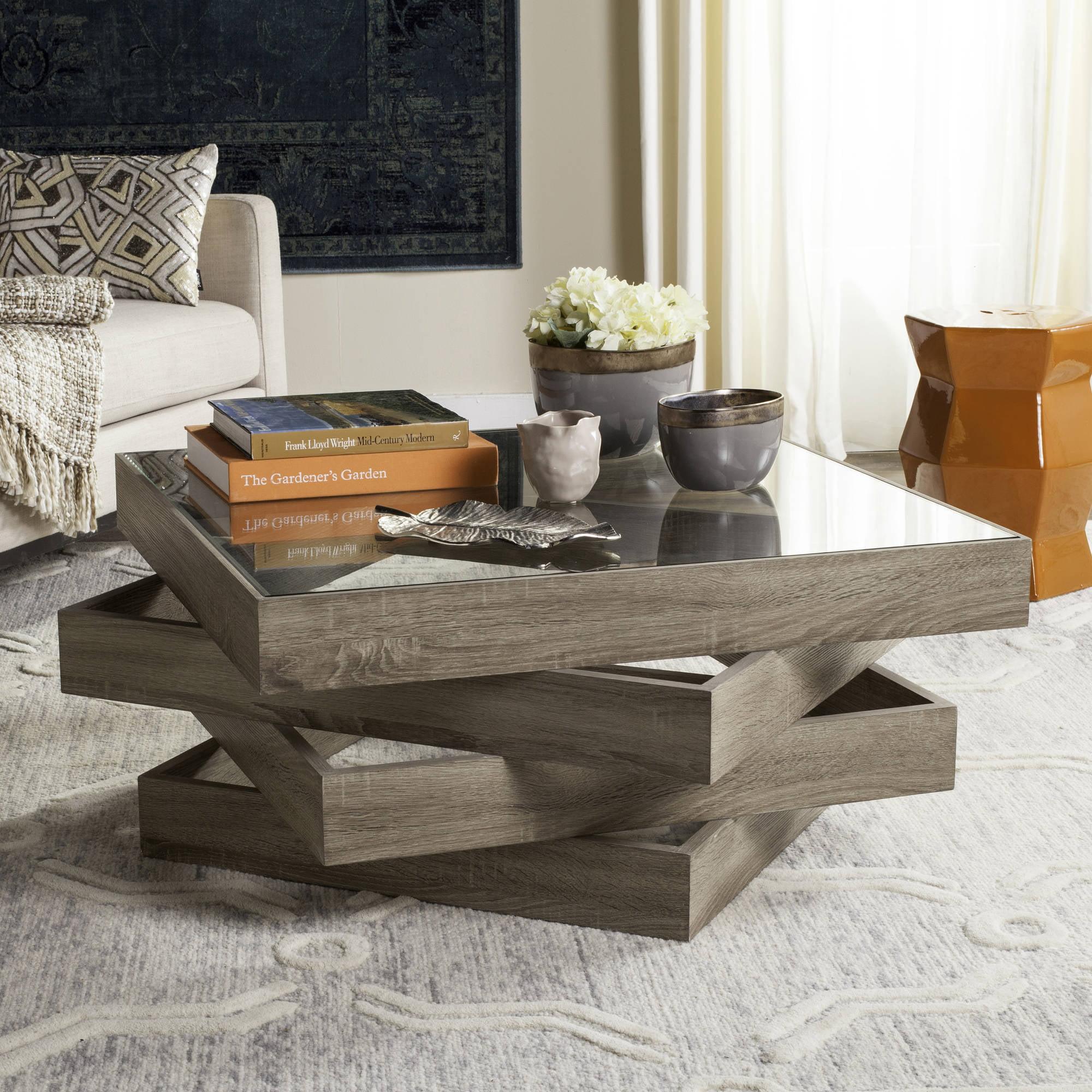 """Safavieh Anwen 33.5"""" Square Mid Century Geometric Coffee Table, Light Grey by Safavieh"""