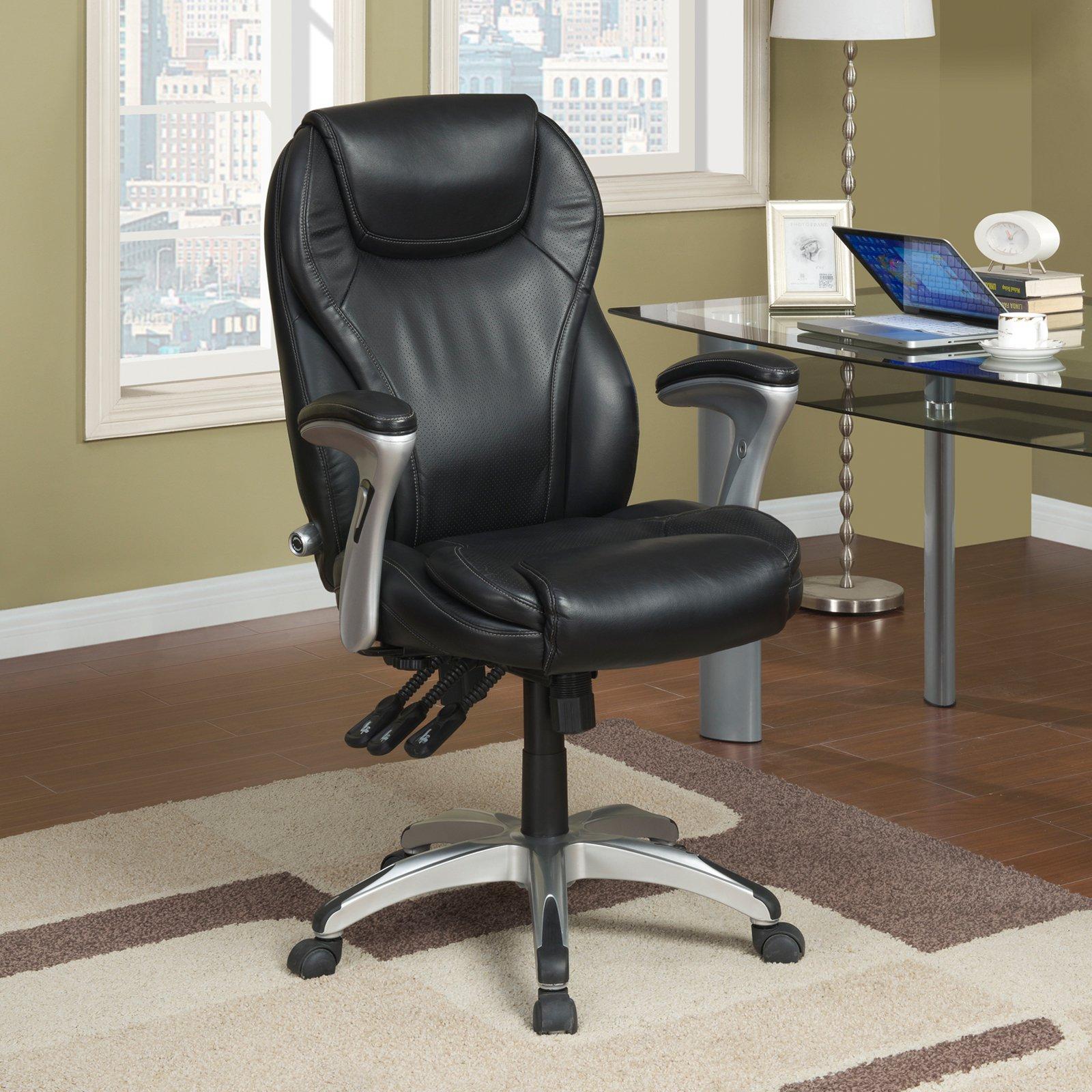 Serta Ergo Executive Office Chair In Black Bonded Leather Walmart Com