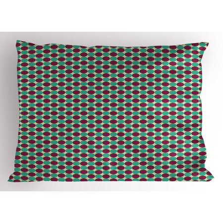 Tone Geometric Circles - Abstract Pillow Sham Geometric Circles in Squares Different Tones Modern Unusual Retro Hipster, Decorative Standard King Size Printed Pillowcase, 36 X 20 Inches, Pale Sea Green Plum, by Ambesonne