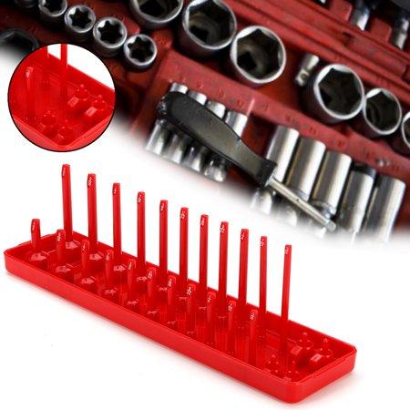 - 26 Sockets 1/4'' Rack Storage Organizer Rail Tray Holder Shelf Organizer Stand Red SAE 1/8, 5/32, 3/16, 1/4, 9/32, 5/16, 11/32, 3/8, 7/16, 1/2, 9/16, 5/8 in