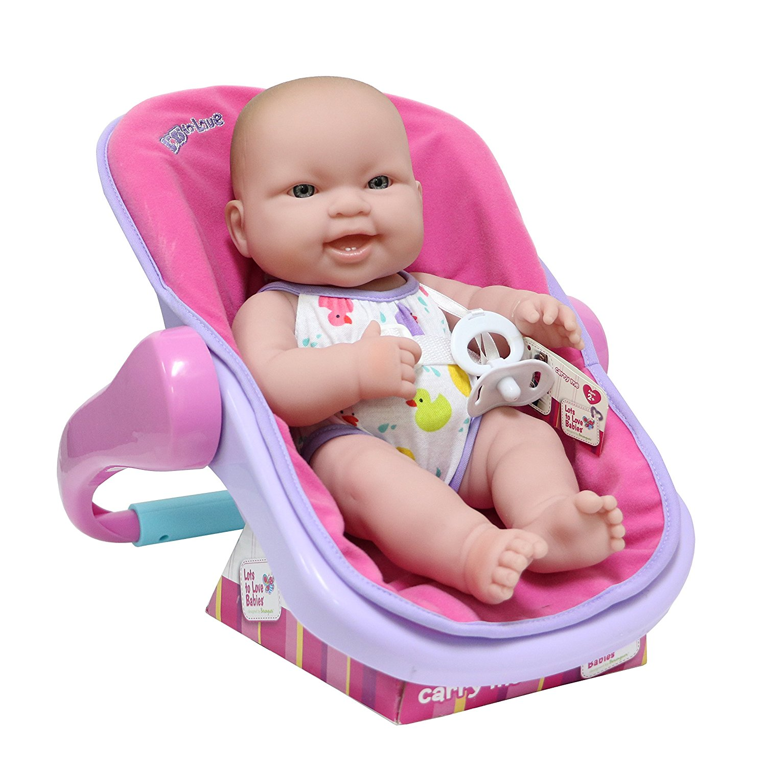 """Lots to Love Babies 14"""" All-Vinyl Baby Doll in multi-position carrier."""