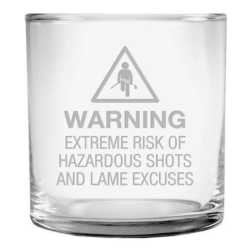Susquehanna Glass Hazardous Shots Slim Rocks Glass (Set of 4)
