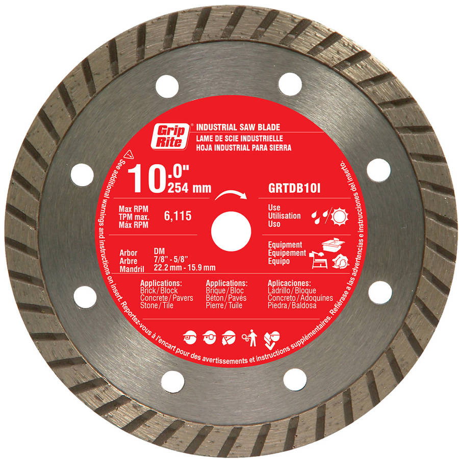 "Grip Rite GRTDB10I 10"" Industrial Turbo Rim Diamond Blade"