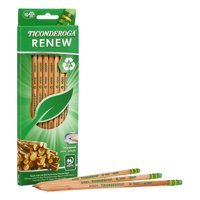 Ticonderoga Renew Recycled Wood-Cased Pencil, Pre Sharpened Pencils, 10 ct