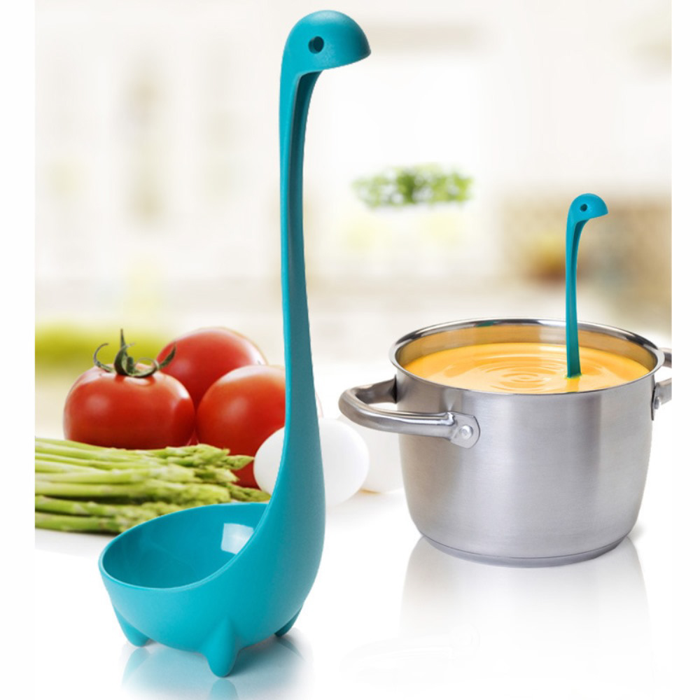 Eutuxia Nessie Soup Ladle [3 PK] , Loch Ness Monster Spoon Stands Upright. Food Grade Nylon, Dishwasher Safe Kitchen Utensil. Cute, Unique Cooking Tool. Great for Parties and Daily Household Use.