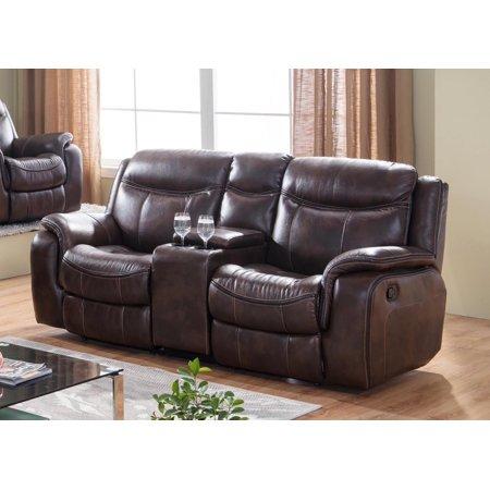 Brown Premium Leather Air Fabric Reclining Loveseat Modern McFerran SF3739-L