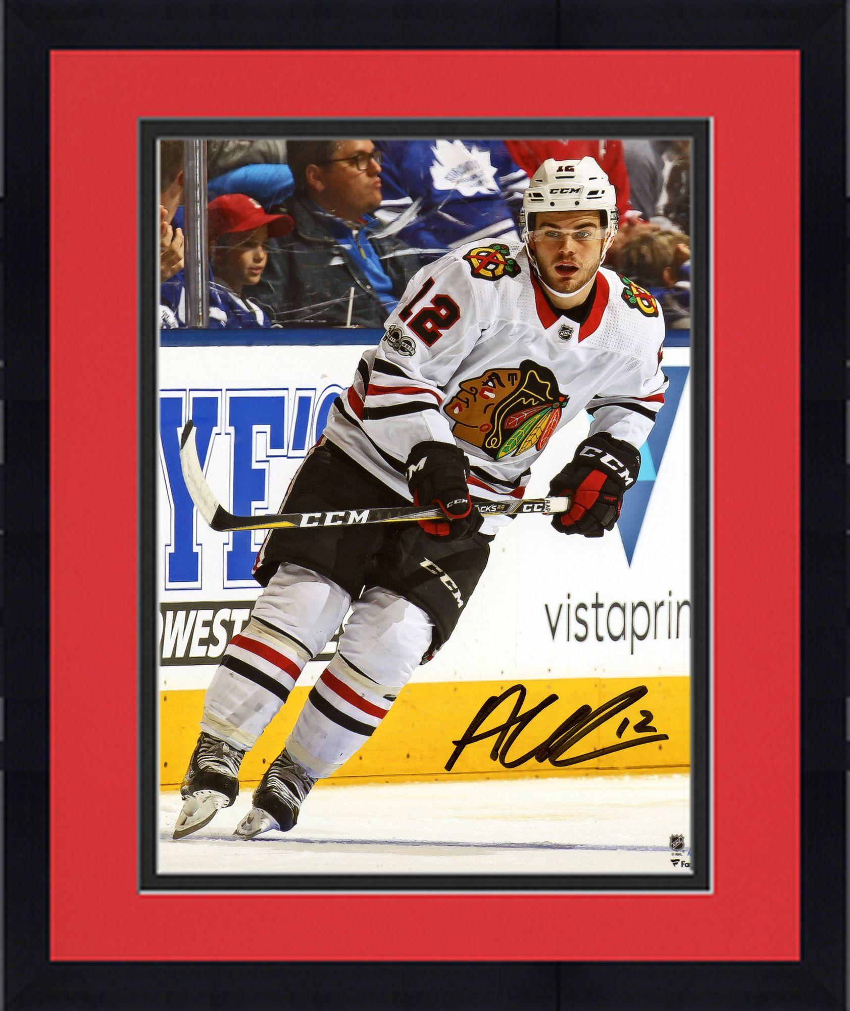 "Framed Alex DeBrincat Chicago Blackhawks Autographed 8"" x 10"" White Jersey Skating Photograph Fanatics... by Fanatics Authentic"