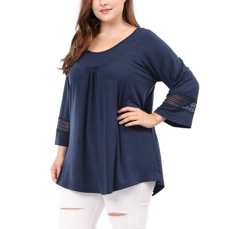 - Women's Plus Size Kimono Raglan Sleeves Ruched Front Blouse Top