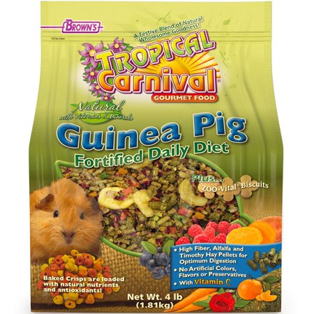 F.M. Brown'S Tropical Carnival Natural Guinea Pig Food, 4-Lb Bag - Vitamin-Nutrient Fortified Daily Diet With Vitamin C And High Fiber Alfalfa And Timothy Hay Pellets For Optimum Digestion (Alfalfa Based Pellet)
