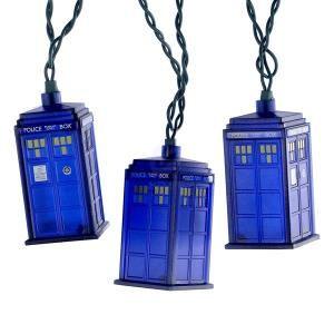 "UL 10/L DR WHO BLUE TARDIS LIGHT SET W/30"" LEAD WIRE & 12"" SPACING."