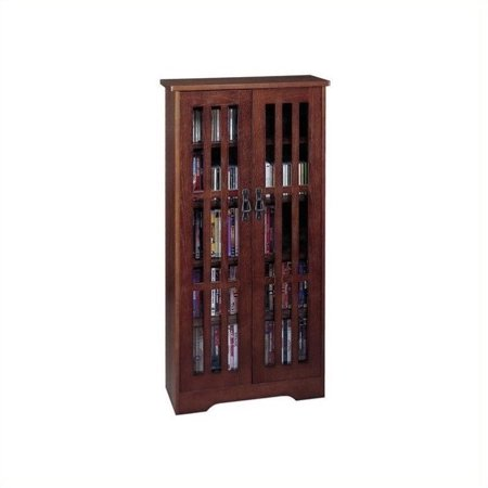 Inlaid Glass Mission Multimedia Cabinet (M-371 Series)-Finish:Dark Cherry