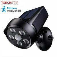 TORCHSTAR Outdoor LED Solar Motion Sensor Security Lights, Black