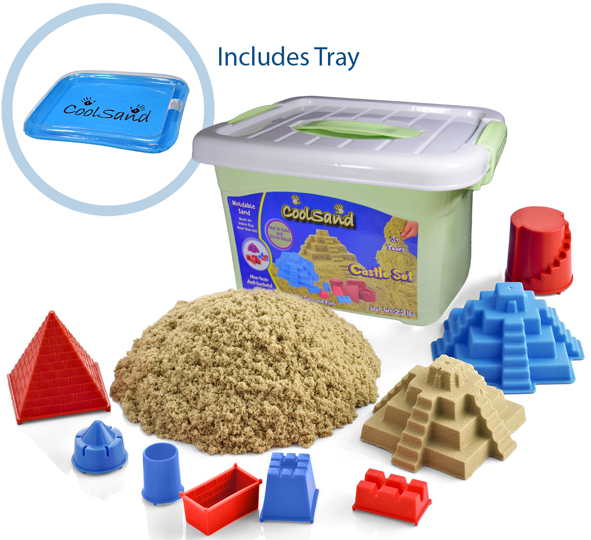 CoolSand Deluxe Bucket Kinetic Play Sand With Inflatable Sandbox - Castle Set Edition